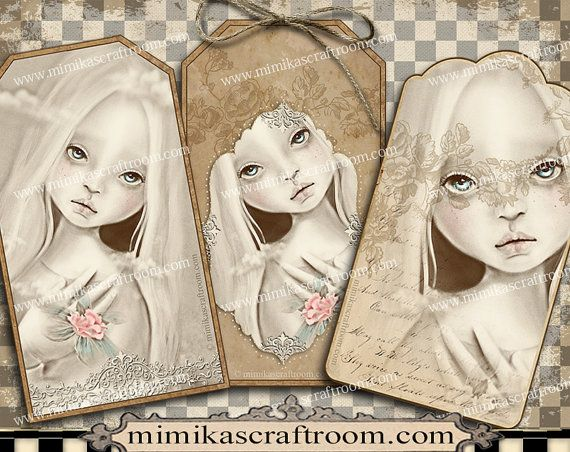 Instant DOLL digital cards gift tags printable by mimikascraftroom