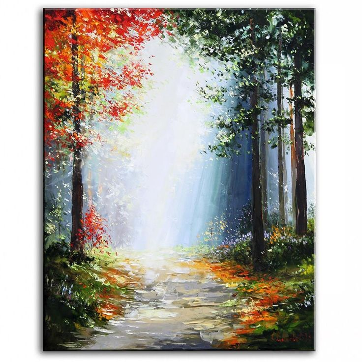 Oil painting 'Woodland Path' by Gleb Go Handmade Modern Paintings Home living room Decor Wall oil paintings Art