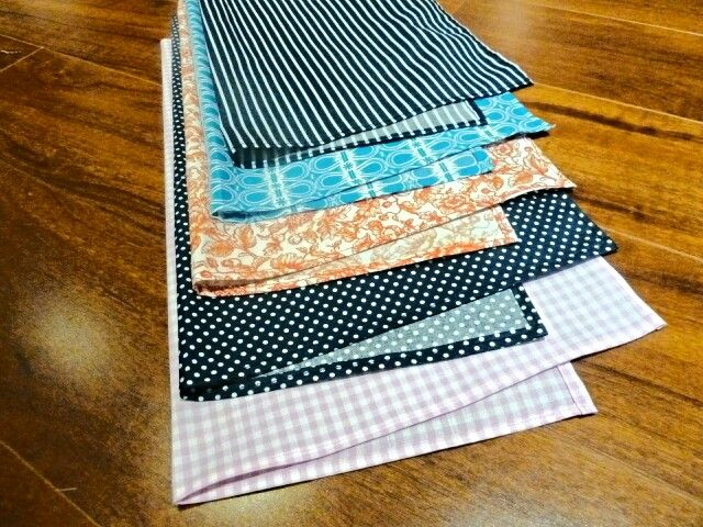 Pocket squares, as requested by the hubs. The fun lies in choosing the fabrics. These were his picks   www.madebymaca.com