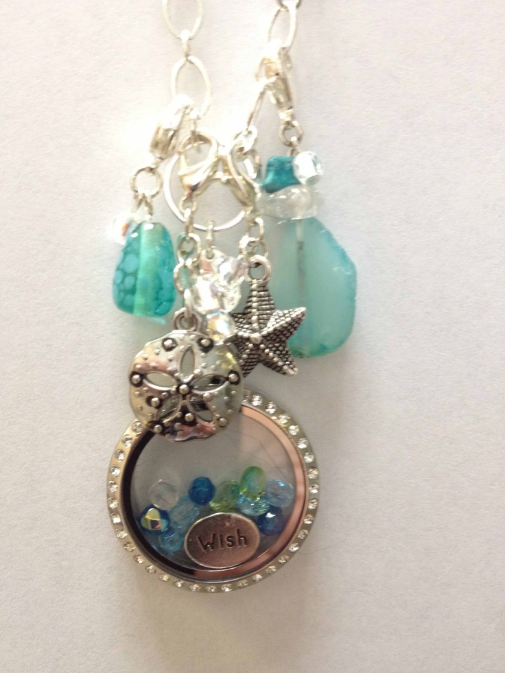 This is the blue version of my Origami Owl necklace and pendant.  I made all the dangles.