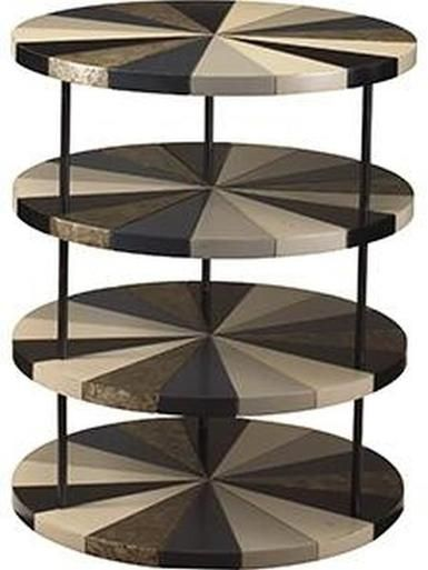 Side Table FRENCH HERITAGE URBAN POIROUX Four Tiers Round Neutral Tones F FH-739