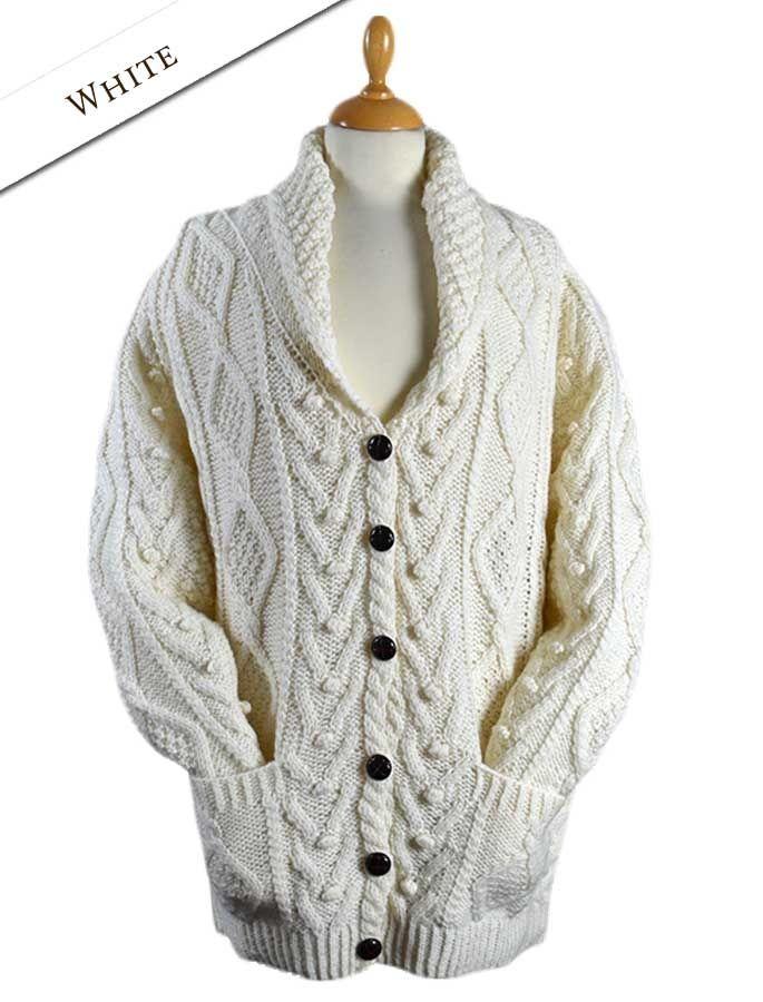 02 Premium Hand Knit Shawl Neck Cardigan - White