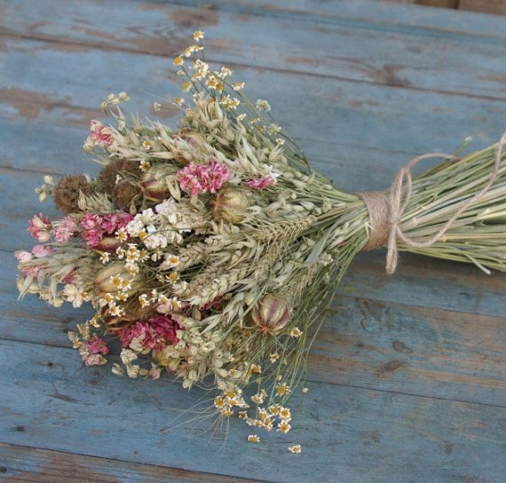 Rustic Country Dried Flower Bouquet by EnglishFlowerFarmer on Etsy