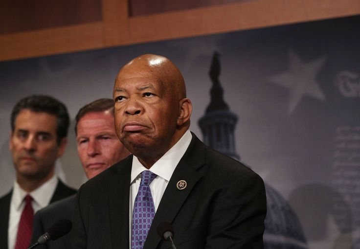 U.S. Rep. Elijah Cummings (D-MD) (R),  Rep. John Sarbanes (D-MD) (L) and Sen. Richard Blumenthal (D-CT) (2nd L):  Congressional Democrats held a news conference to discuss the first 100 days of the Trump presidency.
