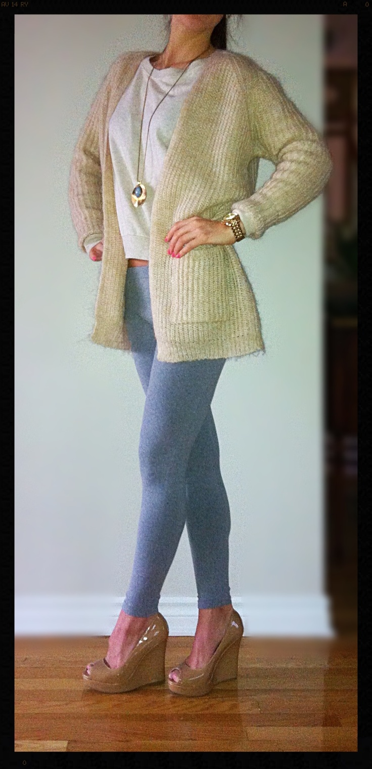 Comfy & casual look- grey leggings, wool knitted cardigan over cotton beige long sleeve sweater, nude high heel wedges, MK gold watch, gold pendant necklace