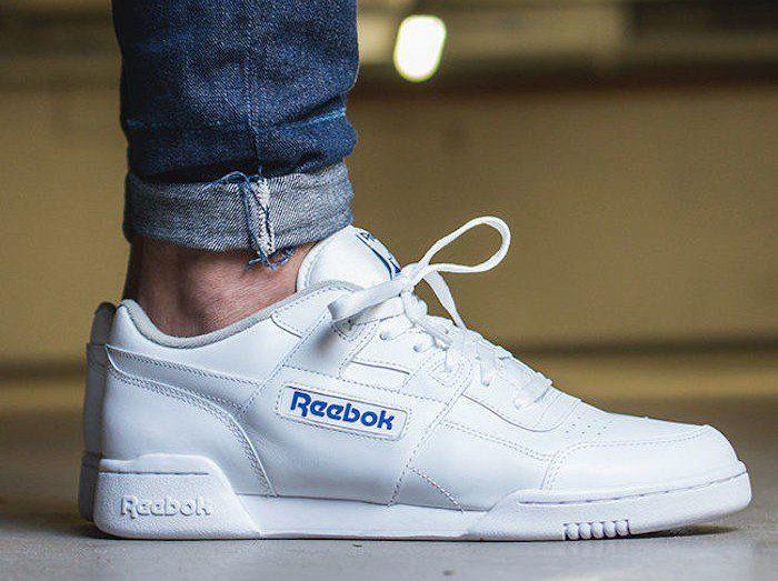 Belle Blanc Homme Reebok Cuir Baskets Basses Chaussures De