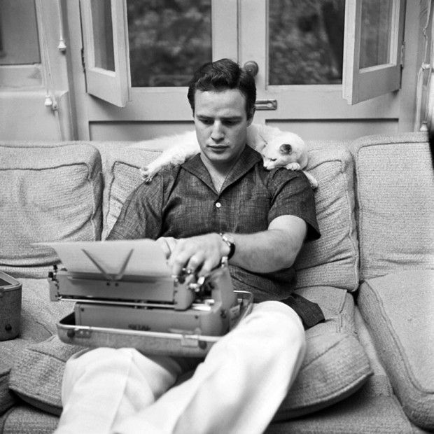 Marlon Brando with His Cat at Home, circa 1950s