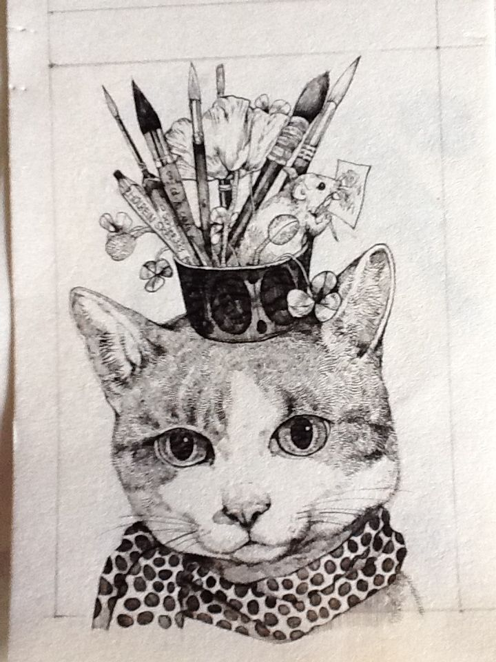 'Cats' progress, Croquis book originals. Holbein painting materials by…