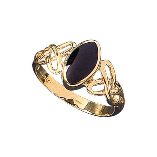W Hamond Ring Whitby Jet And 9ct Yellow Gold Marquise Celtic R462 | W Hamond - The Original Whitby Jet Store Est.1860