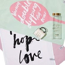 freedom x CCI : All You Need is Love tea towels, mug and water bottle