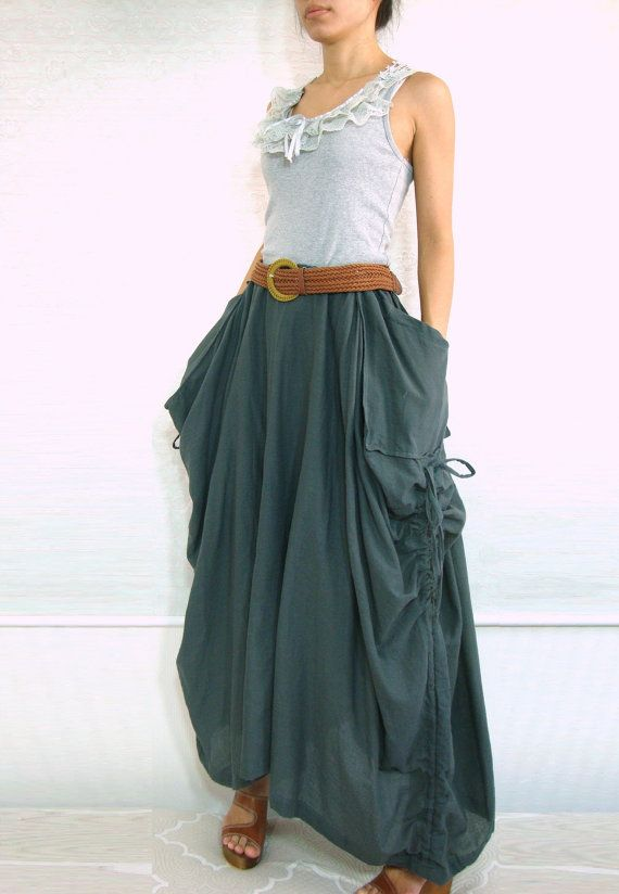 "I'd wear this ALL the time.  So comfortable and there are ""catch all"" pockets  Dark Gray Cotton Maxi Skirt - SK001"