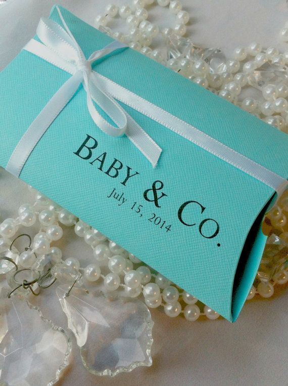 Bride & Co., Baby & Co., or a Tiffany themed pillow box personalized for your event. Tiffany Inspired Baby Shower Favor Boxes  SosiaToGo on Etsy