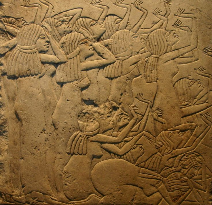 A quick look at: mourning in ancient Egypt. Photo: Relief showing mourners from Saqqara, now at the Louvre, ca. 1330 BCE. It could be argued that many funerals today are for the benefit of the living...