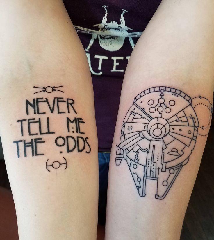 Millennium Falcon and Han Solo quote by Edu Cerro @ Samuel O'Reilly's Tattoo Parlour, Santa Cruz CA.