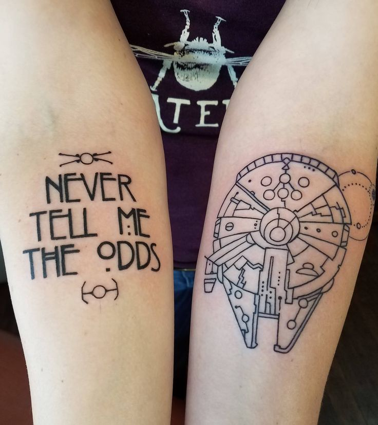 Millennium Falcon and Han Solo quote by Edu Cerro @ Samuel O'Reilly's Tattoo Parlour, Santa Cruz CA.