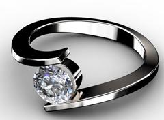Diamant Verlobungsring Fusion, 750er Weißgold 18 Karat