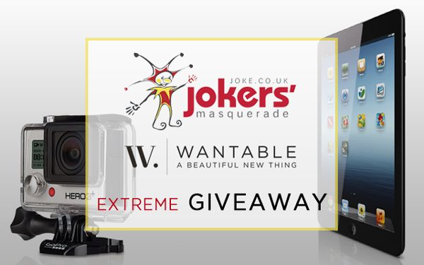 Wantable and Jokers' Masquerade are giving away a Go Pro Camera and an iPad Mini - enter now!