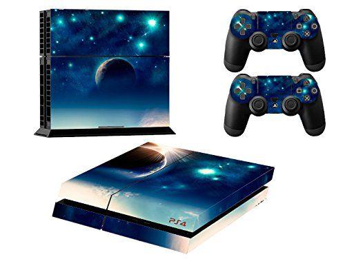 Skin Sticker/Aufkleber Folie Nachthimmel Stern schützende Haut Schale für Sony PS4 Konsole und 2 Controller (earth)