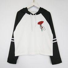Autunno Nuovo Colore di Colpo in Bianco e Nero T-Shirt per Le Donne Con Cappuccio Rosso Fiore Ricamato Femminile T-Shirt Pullover Casuale Hoody SL(China (Mainland))