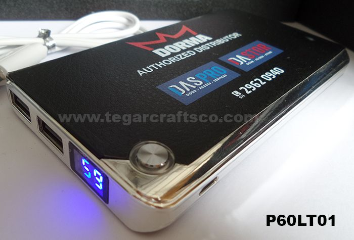 Powerbank P60LT01, 6000mAh, with digital indicator. Orderd by PT Dorma Indonesia, Jakarta Indonesia.