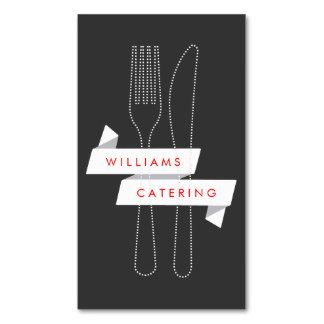 Modern Fork and Knife Ribbon Logo for Catering Double-Sided Standard Business Cards (Pack Of 100)