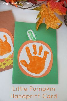 Little Pumpkin Kid's Handprint Fall Cards Here's an easy craft to make with kids and give to someone you love!  Or keep it for yourself!  (Or make several – they turn out so cute.) This is SO easy.  I just did a handprint in orange and then a single finger print (the entire finger) for …