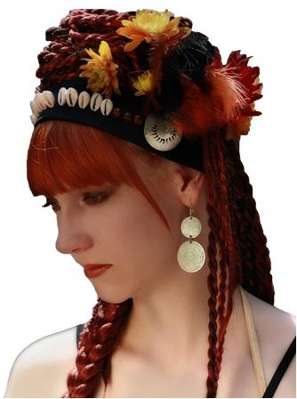 Tribal hair, Flechtfrisur mit rotem Kunsthaar, Rastazöpfe und Twists, braids