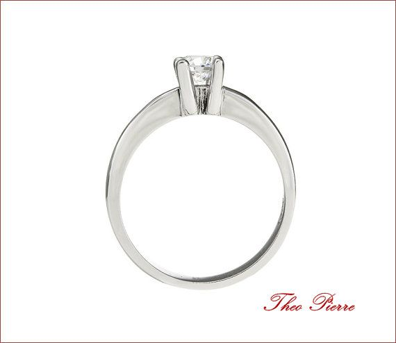 Wedding Ringwith Single Stone Silver 925 or Gold 18K by TheoPierre