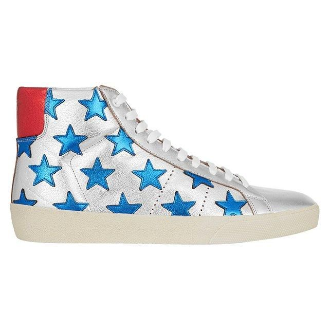 Saint Laurent Court Classic appliquéd metallic leather high-top sneakers