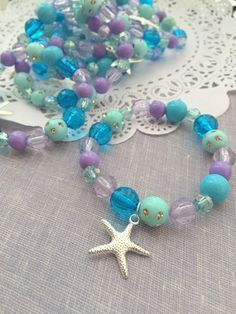 Mermaid party favor, starfish, kids, jewelry, bracelet. Set of TEN.
