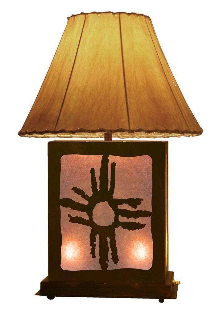 Desert Sun Design Lamp & Nightlight 25 inch tall rustic southwestern lighting Southwest Decor ironwood industries rustic Decor american made usa