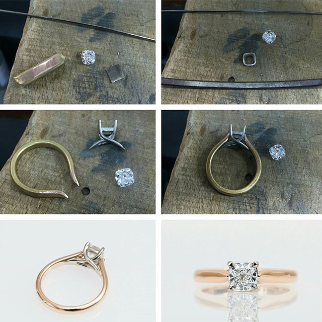 From the workshop, creating a custom designed engagement ring. #harlequinjewellers #engagementring #piecebypiece