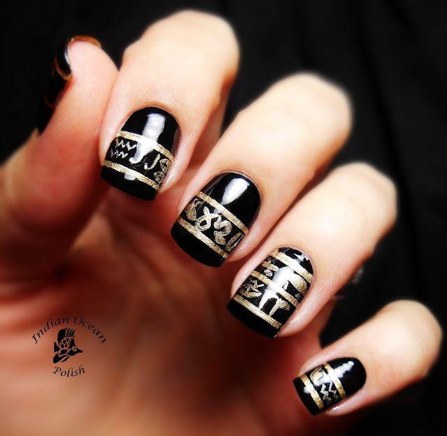 Indian Ocean Polish: Black and gold Egyptian Hieroglyphic nail art !