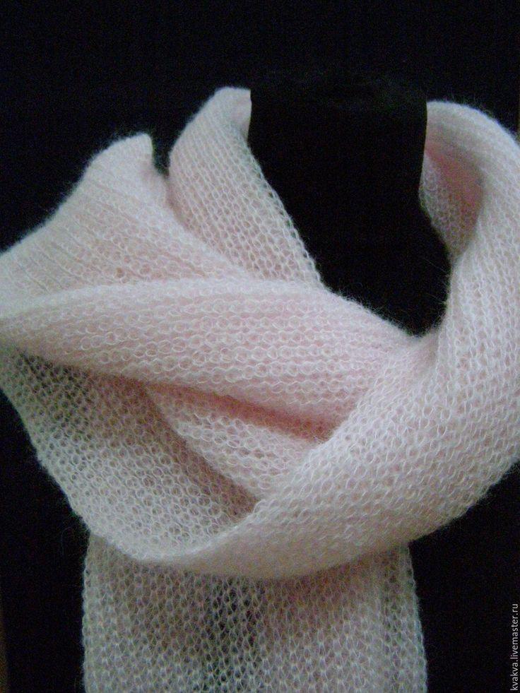 Купить Нежный шарфик - кремовый, однотонный, шарф, длинный шарф, палантин, шаль, шапка, шапочка