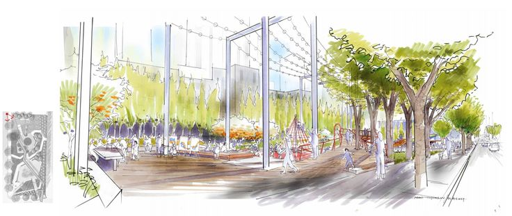 The new park will feature plaza space for farmers markets and other programming, as well as a coffee shop.