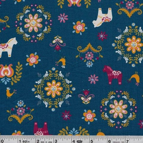 Dala horses fabric