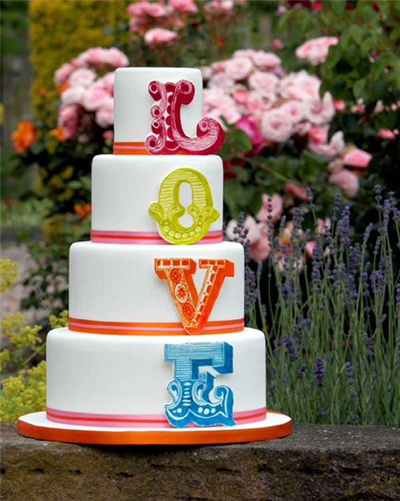 Colourful Love Letters Wedding Cake