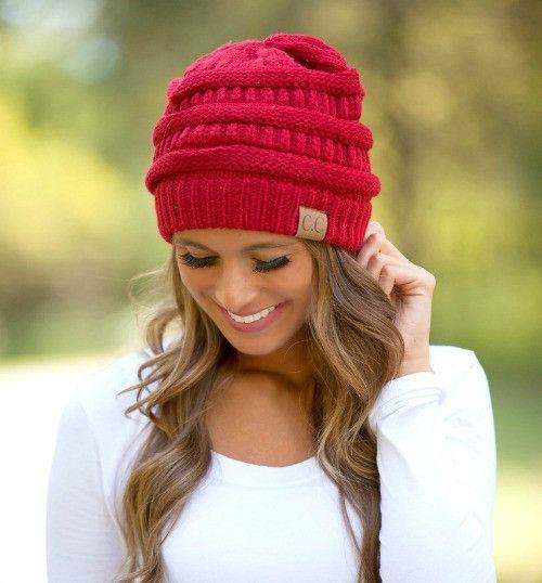 CC Beanie - Red Knit Beanie