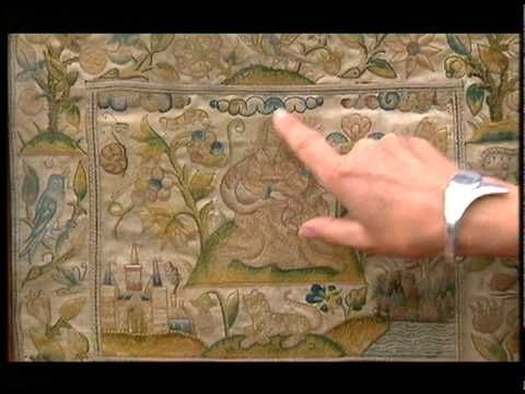 17th century embroidery Antiques Roadshow - what a beautiful piece of work, with close-up shots and all explained in detail.
