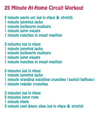 25 min at home circuit workout--perfect since I prefer to work out at home.