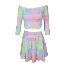 Color block pastel two piece dress
