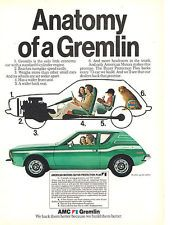 1973 AMC Gremlin X Anatomy of a Gremlin Car Print AD