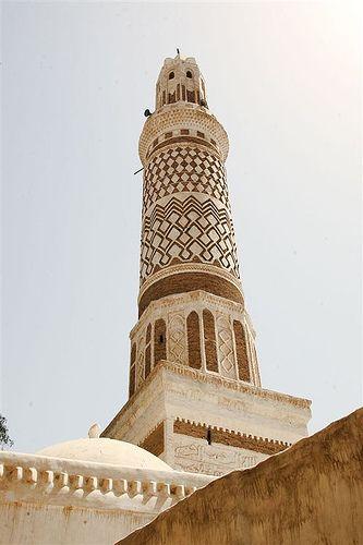 Minaret of a mosque in Sanaa - Yemen     :::: PINTEREST.COM christiancross ::::