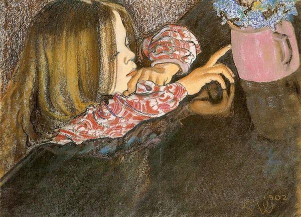 Helenka With A Vase And Flowers -Stanislaw Wyspianski(1869-1907)