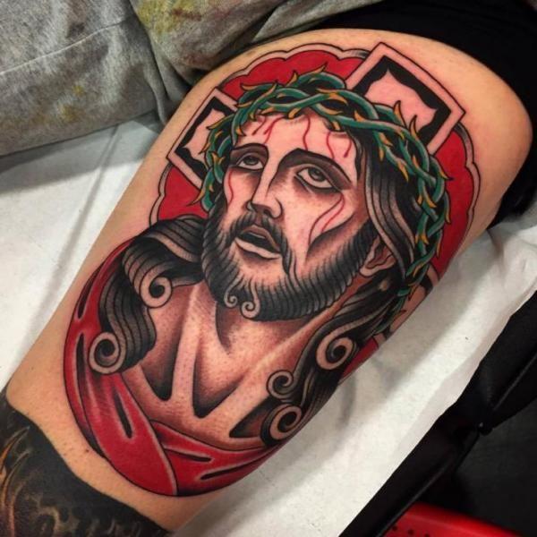 old school jesus tattoo - Google Search | Ink I Love ...