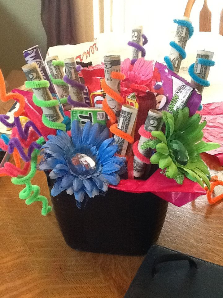 Candy Money Pipe cleaners & flower gift basket