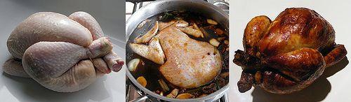 Klassiek Chinees recept voor kip gepocheerd in Meestersaus en daarna nog even gebruind onder de grill. Met foto's en uitleg van benodigde ingrediënten.