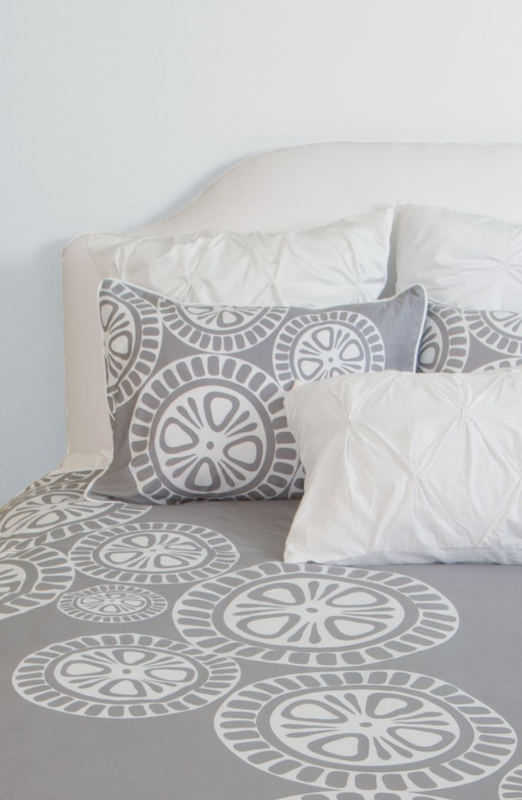 Sleep chic in beautiful bedding, duvet covers and sheets for your modern home.  Featuring the 400 thread count Sunset duvet cover in Grey.