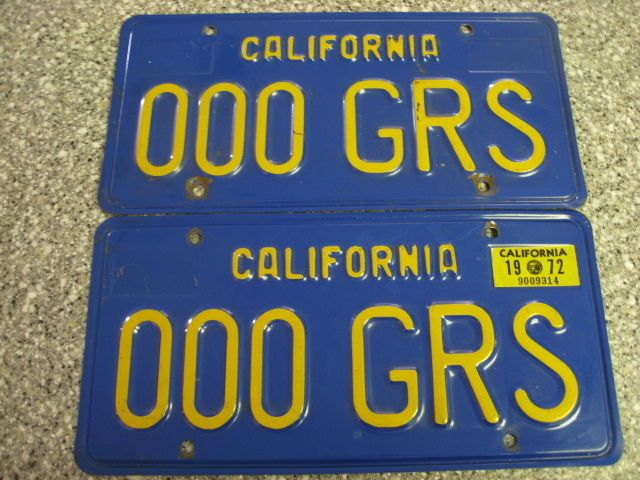 1970 California License Plates, 1972 Validation, Dmv Clear Guaranteed, Ex2