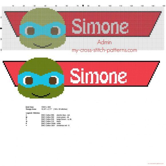 Nome bimbo Simone punto croce da ricamare con le tartarughe ninja